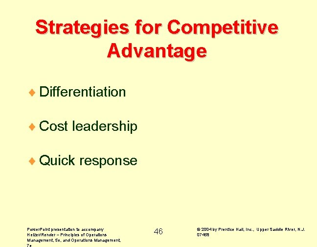 Strategies for Competitive Advantage ¨ Differentiation ¨ Cost leadership ¨ Quick response Power. Point