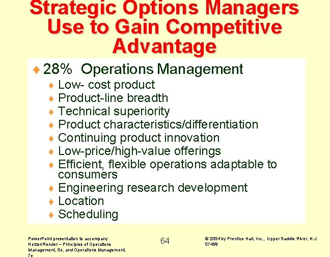 Strategic Options Managers Use to Gain Competitive Advantage ¨ 28% Operations Management ¨ Low-