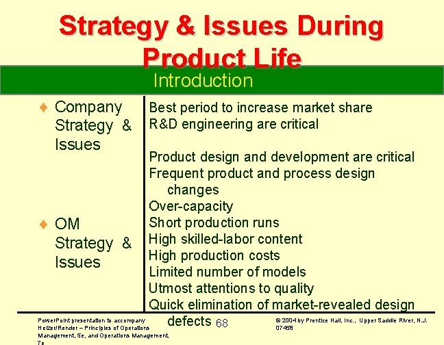 Strategy & Issues During Product Life Introduction ¨ Company Strategy & Issues Best period