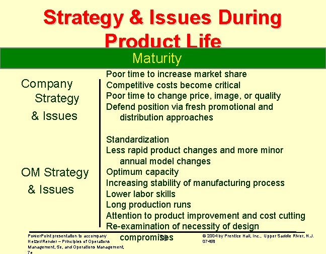 Strategy & Issues During Product Life Maturity Company Strategy & Issues Poor time to