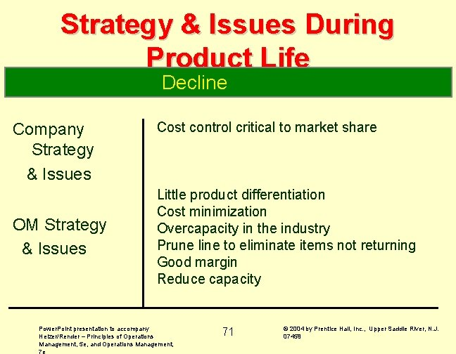 Strategy & Issues During Product Life Decline Company Strategy & Issues OM Strategy &