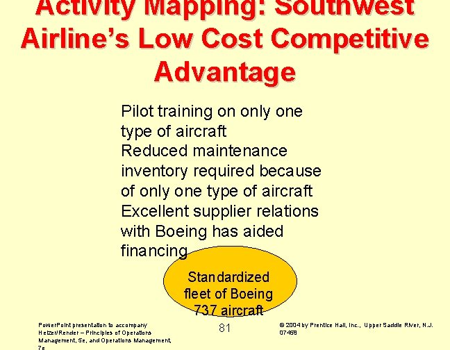 Activity Mapping: Southwest Airline's Low Cost Competitive Advantage Pilot training on only one type