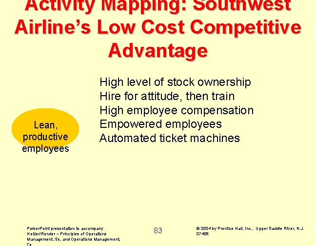 Activity Mapping: Southwest Airline's Low Cost Competitive Advantage Lean, productive employees High level of