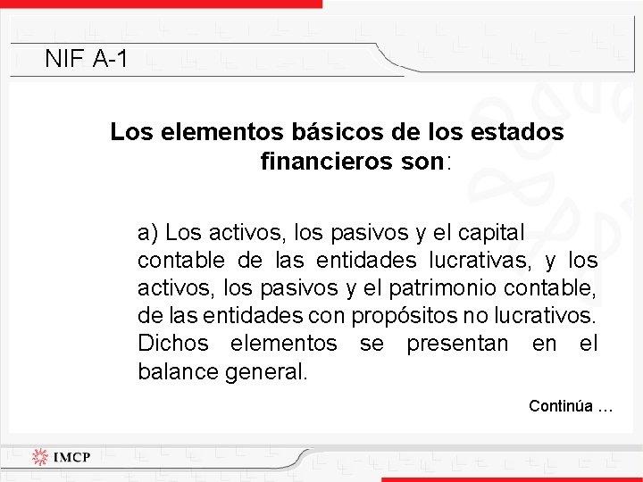 NIF A-1 Los elementos básicos de los estados financieros son: a) Los activos, los