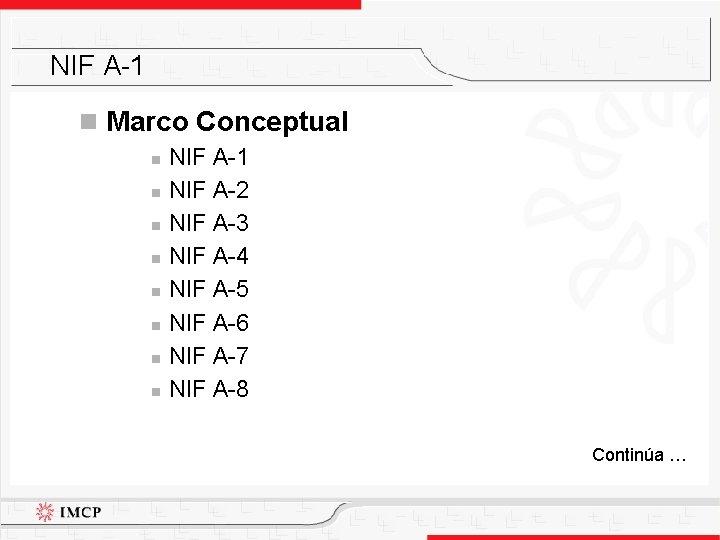 NIF A-1 n Marco Conceptual n n n n NIF A-1 NIF A-2 NIF