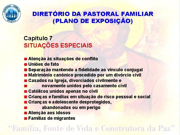 DIRETÓRIO DA PASTORAL FAMILIAR (PLANO DE EXPOSIÇÃO) Capitulo 7 SITUAÇÕES ESPECIAIS Atenção às situações