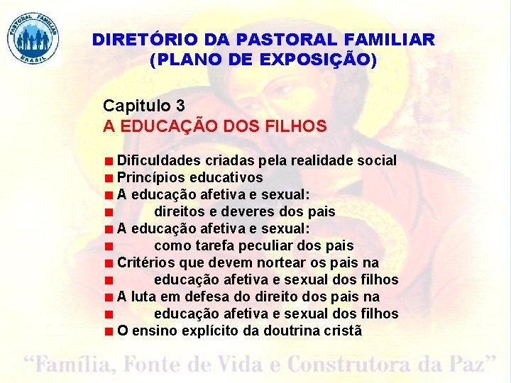 DIRETÓRIO DA PASTORAL FAMILIAR (PLANO DE EXPOSIÇÃO) Capitulo 3 A EDUCAÇÃO DOS FILHOS Dificuldades