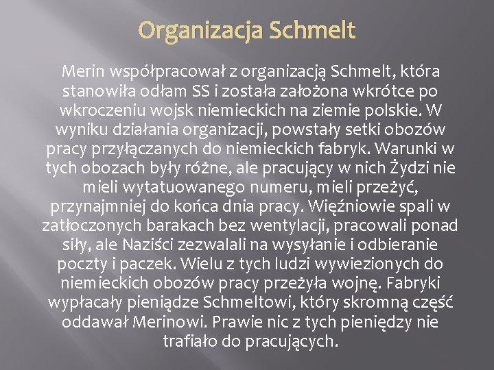 Organizacja Schmelt Merin współpracował z organizacją Schmelt, która stanowiła odłam SS i została założona