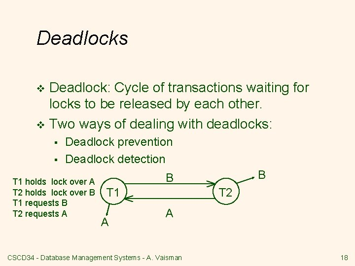 Deadlocks Deadlock: Cycle of transactions waiting for locks to be released by each other.