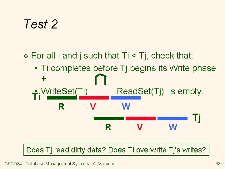Test 2 v For all i and j such that Ti < Tj, check