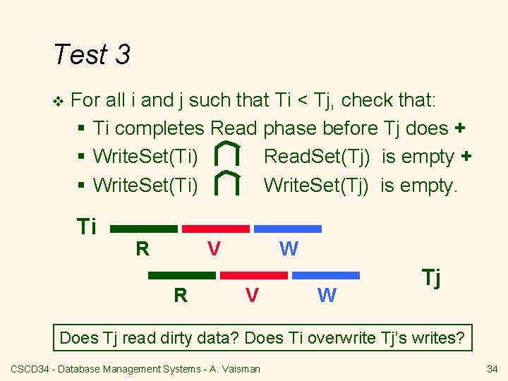 Test 3 v For all i and j such that Ti < Tj, check