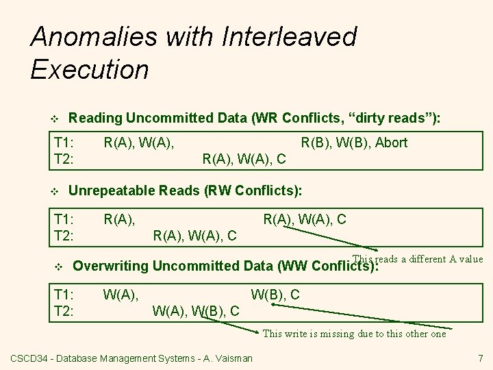 """Anomalies with Interleaved Execution v Reading Uncommitted Data (WR Conflicts, """"dirty reads""""): T 1:"""