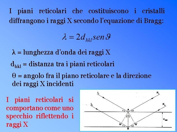 I piani reticolari che costituiscono i cristalli diffrangono i raggi X secondo l'equazione di