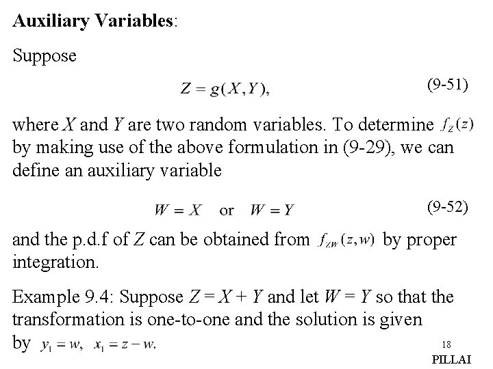 Auxiliary Variables: Suppose (9 -51) where X and Y are two random variables. To