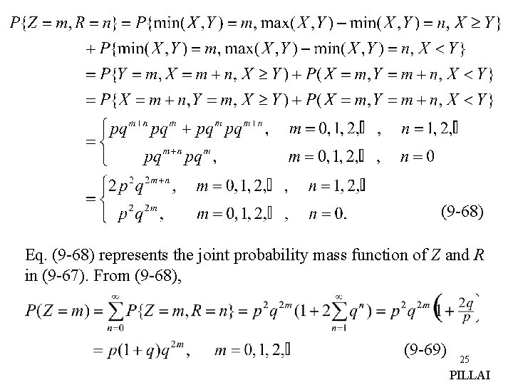 (9 -68) Eq. (9 -68) represents the joint probability mass function of Z and
