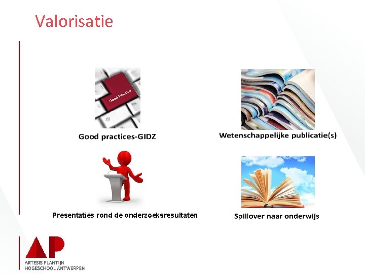 Valorisatie Presentaties rond de onderzoeksresultaten
