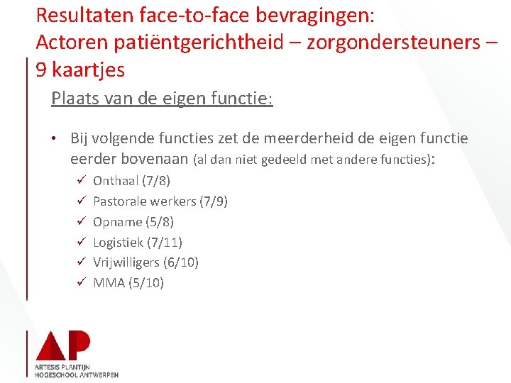 Resultaten face-to-face bevragingen: Actoren patiëntgerichtheid – zorgondersteuners – 9 kaartjes Plaats van de eigen