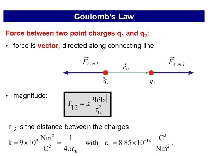 Coulomb's Law Force between two point charges q 1 and q 2: • force