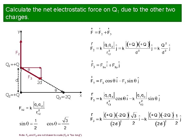 Calculate the net electrostatic force on Q 1 due to the other two charges.