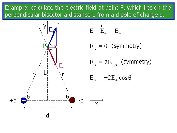Example: calculate the electric field at point P, which lies on the perpendicular bisector