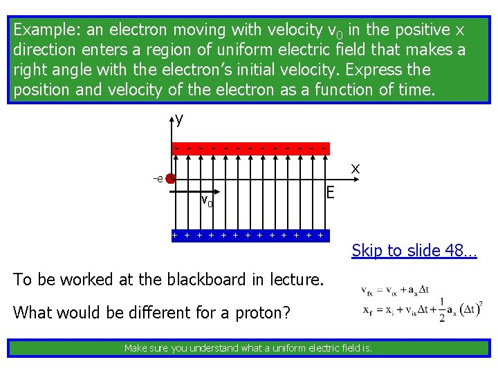 Example: an electron moving with velocity v 0 in the positive x direction enters