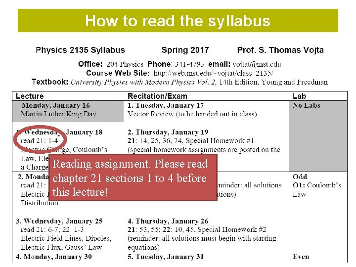 How to read the syllabus Reading assignment. Please read chapter 21 sections 1 to