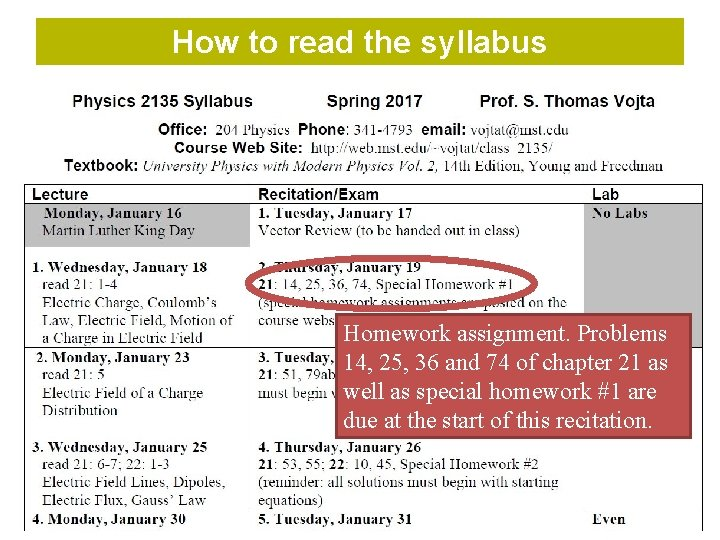 How to read the syllabus Homework assignment. Problems 14, 25, 36 and 74 of