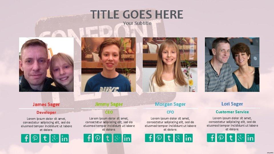 TITLE GOES HERE Your Subtitle James Sager Jimmy Sager Morgan Sager Lori Sager Developer