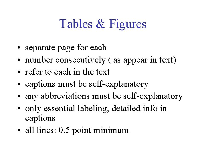 Tables & Figures • • • separate page for each number consecutively ( as