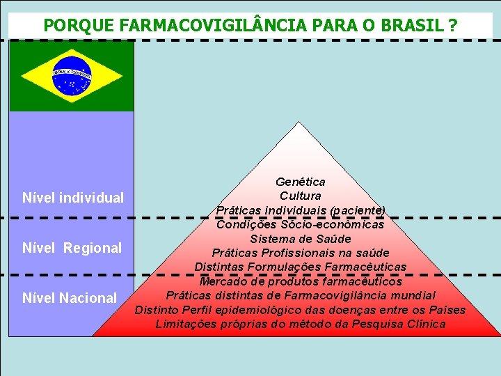 PORQUE FARMACOVIGIL NCIA PARA O BRASIL ? Genética Cultura Nível individual Práticas individuais (paciente)