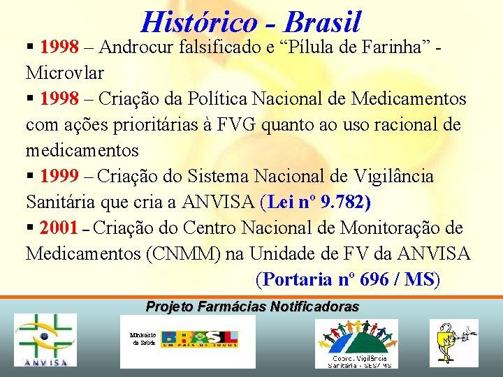 """Histórico - Brasil § 1998 – Androcur falsificado e """"Pílula de Farinha"""" Microvlar §"""