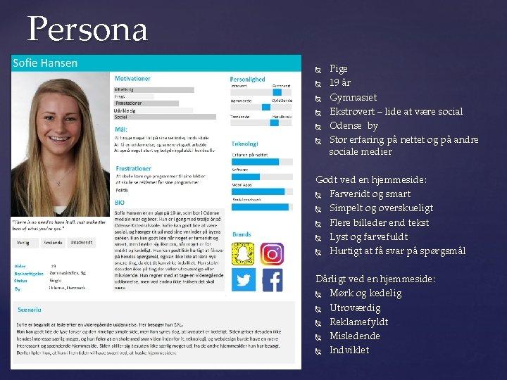 Persona Pige 19 år Gymnasiet Ekstrovert – lide at være social Odense by Stor