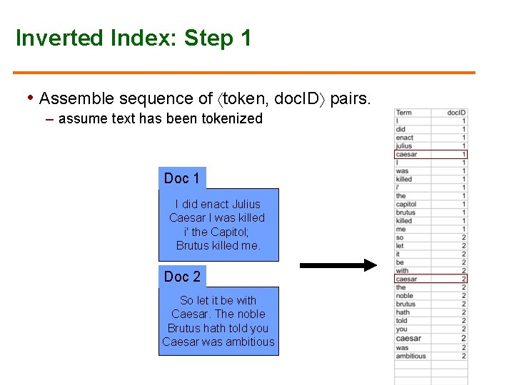 Inverted Index: Step 1 • Assemble sequence of token, doc. ID pairs. – assume