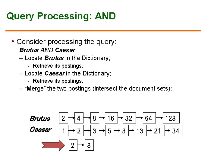 Query Processing: AND • Consider processing the query: Brutus AND Caesar – Locate Brutus