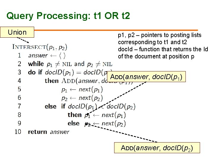 Query Processing: t 1 OR t 2 Union p 1, p 2 – pointers