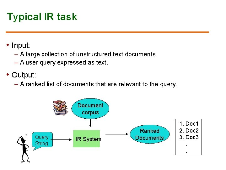 Typical IR task • Input: – A large collection of unstructured text documents. –