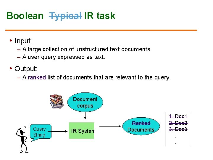 Boolean Typical IR task • Input: – A large collection of unstructured text documents.