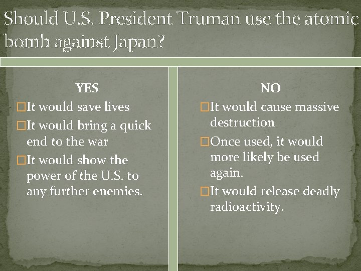 Should U. S. President Truman use the atomic bomb against Japan? YES �It would