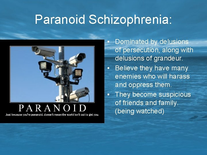 Paranoid Schizophrenia: • Dominated by delusions of persecution, along with delusions of grandeur. •