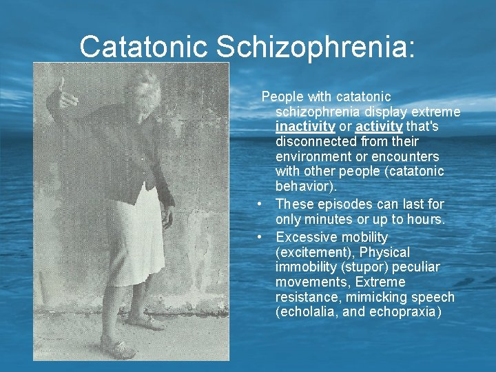 Catatonic Schizophrenia: People with catatonic schizophrenia display extreme inactivity or activity that's disconnected from