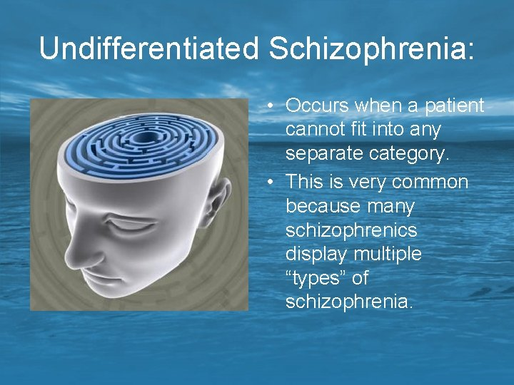 Undifferentiated Schizophrenia: • Occurs when a patient cannot fit into any separate category. •