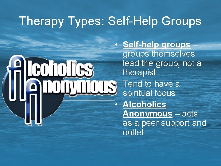 Therapy Types: Self-Help Groups • Self-help groups – groups themselves lead the group, not