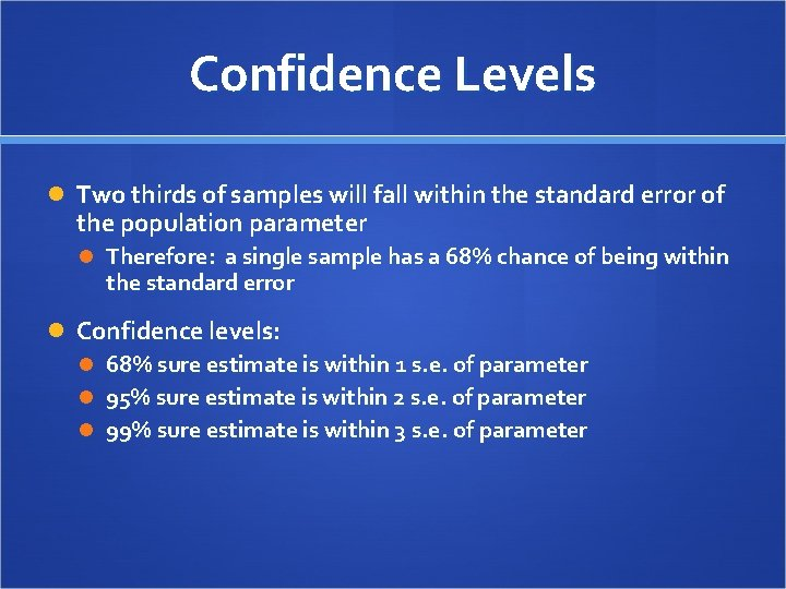 Confidence Levels Two thirds of samples will fall within the standard error of the