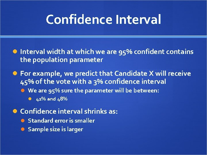 Confidence Interval width at which we are 95% confident contains the population parameter For