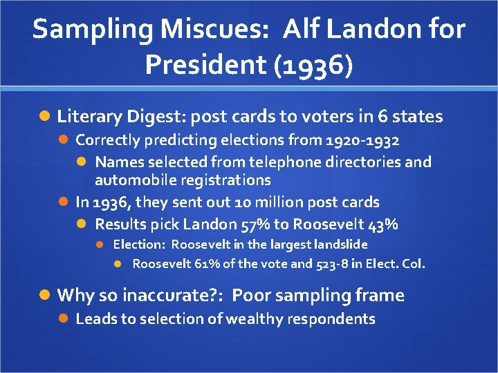 Sampling Miscues: Alf Landon for President (1936) Literary Digest: post cards to voters in