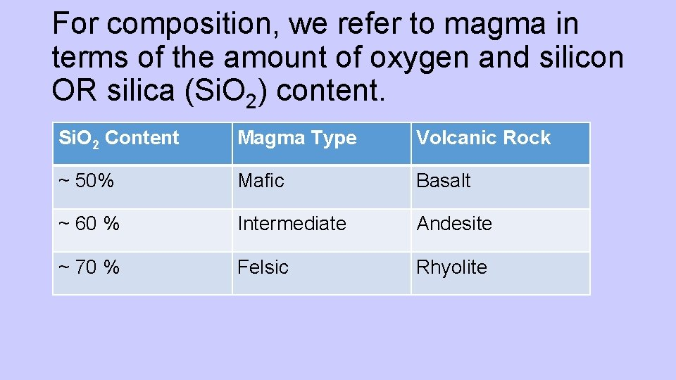 For composition, we refer to magma in terms of the amount of oxygen and
