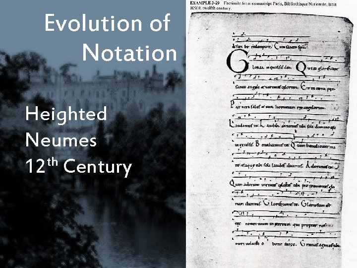 Evolution of Notation Heighted Neumes 12 th Century