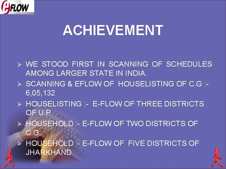 ACHIEVEMENT Ø Ø Ø WE STOOD FIRST IN SCANNING OF SCHEDULES AMONG LARGER STATE