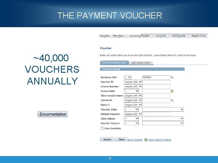 THE PAYMENT VOUCHER ~40, 000 VOUCHERS ANNUALLY 37