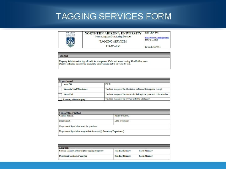 TAGGING SERVICES FORM